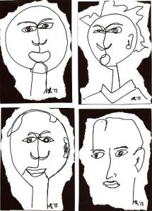 Blind-drawn Faces, by Marla Robb, 2013.